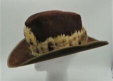 "Vintage Artel Western Cowboy Hat Men's 7 3/8"" Brown Suede Feather Band"