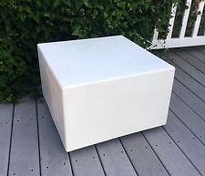 Vtg Mid Century Modern FIBERGLASS High GLOSS Square WHITE SIDE END TABLE Panton