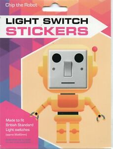 LIGHT SWITCH STICKERS - CHIP THE ROBOT - FREE UK POSTAGE