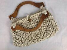 Vintage Handmade Macrame Purse/Handbag with Wooden Handles 1970's BOHO Hippie
