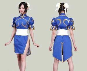 Anime Street Fighter Chun Li Blue Dress Outift Lolita Girls Cosplay Costume