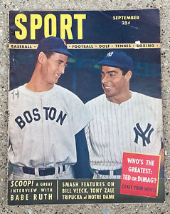 Sport Magazine September 1948 Ted Williams & Joe DiMaggio Baseball Cover