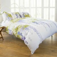 Stunning Floral Design Wisteria Duvet Cover Set Double Bed in Purple Polycotton