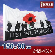 Anzac Day LEST WE FORGET Flag Remembrance Australia AU OZ 150x90cm 5x3ft War