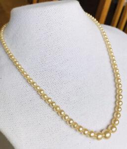 """Vintage Graduated Beads Sim Pearl Necklace Diamanté Clasp 16"""" Champagne Cream"""