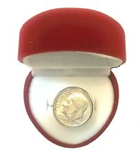 Funny Redneck Valentine DIME-IN-RING Hillbilly Engagement Gag Gift-RED HEART BOX