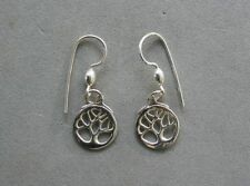 "Sterling Silver Tree of Life Earrings 1/2"" Diameter Handcrafted"
