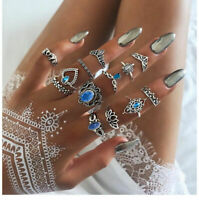 13Pcs/Set Women Vintage Silver Crystal Turtle Midi Finger Knuckle Rings Jewelry