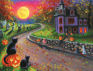 ON A SPOOKY NIGHT by BRIDGET VOTH SunsOut 300 LARGE piece HALLOWEEN puzzle - NEW
