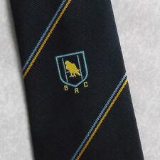 VINTAGE BRC Rugby Club Cravatta retrò anni'70 anni'80 EMBLEMA Motif Navy CREST b.r.c.