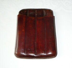 Vintage Reddish Brown Leather Two-Piece Cigar Case/Wallet/Holder