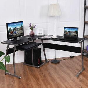 L-Shape Corner Gaming Desk Computer PC Study Table Workstation w/ CPU Shelf Rack