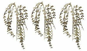 "Artificial Gold Glitter Button Leaf Sprays Christmas Floral Wedding 28"" NEW Lot"