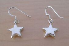 925 Sterling Silver Drop Dangle Puffed Polished Star Earrings, 14 mm Diameter