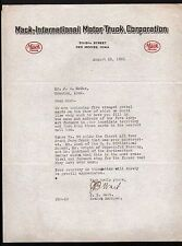 Des Moines IA 1921 - Mack International Motor Truck Corporation  Letterhead Rare