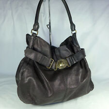 Authentic Rare Burberry Black Leather Large Hobo Belt Shoulder Handbag Purse