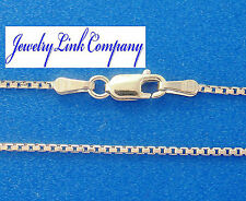 """14K Solid White Gold 8 Sided Box Chain 1mm 16"""" 3.3grams Italian"""
