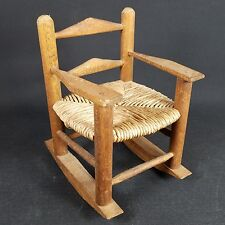 Primitive Wood Vintage Decorative Mini Rocking Chair Twine Seat 8 in Tall