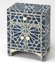 Handmade Bone inlay Blue Geometric Bedside table
