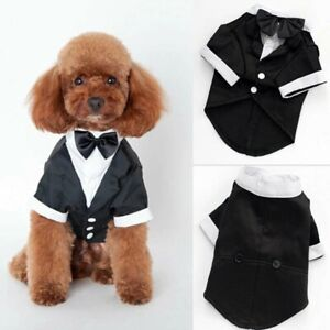 Small Dog Tuxedo Cute Bow Tie Puppy Coat Suit Pet Clothing Shirt Costume Vest