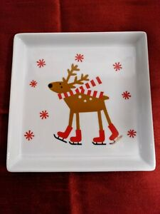 Crate And Barrel Ice Skating Reindeer Appetizer Plate Discontinued
