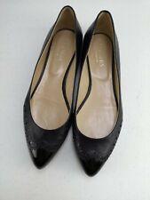 HOBBS London Ladies Women Designer Heel Navy Black Leather Court Shoe Size 7 40