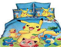 3D Cute Pokemon Pikachu Printed Bedding Set Home Textile Cartoon Duvet Cover Set