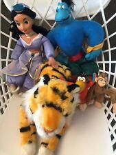 Vintage Disney Aladdin Plush Dolls: Jasmine, Raja, Genie, Abu, + Iago