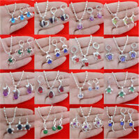 925 Silver Amethyst Heart Pendant Jewelry  Women Necklace Earrings Set