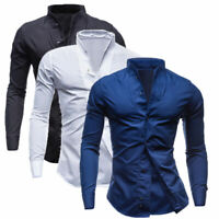 Cotton Men's Daily Wear Casual Shirt Slim Long Sleeve Tops Fashion Blouse Shirts