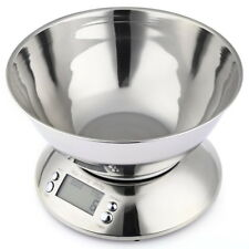 11lb 5kg Stainless Steel Digital Kitchen Food Bowl Scale with Clock Temperature