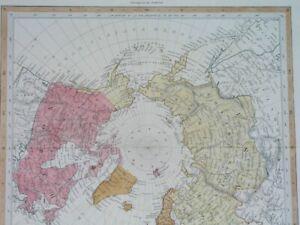 1844 rare ORIGINAL MAP NORTH POLE RUSSIA CANADA UNITED STATES GREENLAND ICELAND