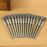 5Pcs 3mm Rotary Steel Wire Wheel Brush Cup Shank For Drill SH Weld Rust O4J8
