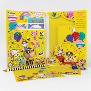 Cats and Dogs Writing Set Wallet By Rachel Ellen - Girls Notepaper & Stickers