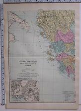 1891 Antico MAP ~ TURCHIA IN EUROPA LA ROMANIA SERVIA Montenegro Grecia