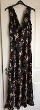 TOPSHOP - Black Long Floral Silky Dress - BNWOT - Size 12