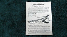 AMERICAN FLYER # M2256 # 7B TRANSFORMER INSTRUCTIONS INSTRUCTIONS PHOTOCOPY