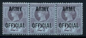 Great Britain Army Official 1896 2 1/2d violet/blue strip of 3, mint fresh o.g.