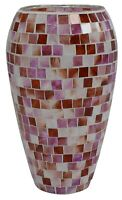Large Multi Coloured Mosaic Glass Vase 25cm Tall Wide Mouth Coral Colours