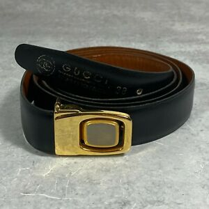Vintage 1970s GUCCI Gold Stainless Buckle Black Leather Belt 38