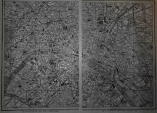 Great Vintage 1914 World War WWI Era Black White City Map Paris France 2 Pg L@@K