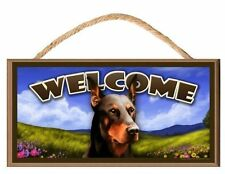 Doberman Wooden Welcome Dog Sign (Springtime Theme) Art by S Rogers