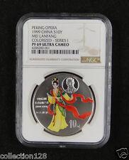 CHINA Silver Coin 10 Yuan 1999, Colorized, Peking Opera - Mei Lanfang, NGC PF 69