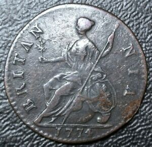 1774 GREAT BRITAIN - HALF PENNY - COPPER - George III - SCARCE DATE