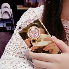 Bling Diamond Crystal Ring Holder Kickstand Mirror Case Cover For Various Mobile