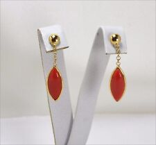18k YELLOW GOLD EARRINGS - CERASUOLO CORAL NAVETTE                 - OGHT 0442 -
