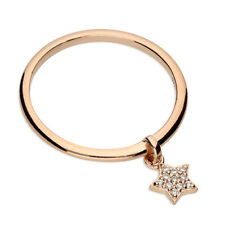 Rose Gold  Star Charm Ring On Solid 925 Sterling Silver Simulated Diamond SIZE O