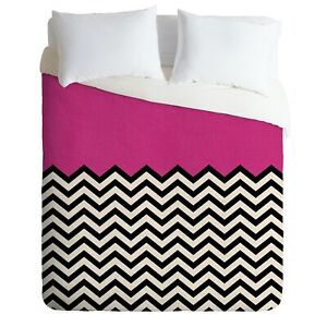 Deny Designs Bianca Green Follow Your Heart Pink & Black Woven Twin Duvet Cover