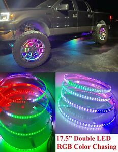 """17.5"""" Color Shift LED Wheel Ring Light Double Row LED Smart Phone App Controlled"""