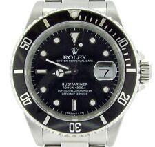 Mens Rolex Submariner Stainless Steel Watch Black Dial & Bezel Date Sub 16610